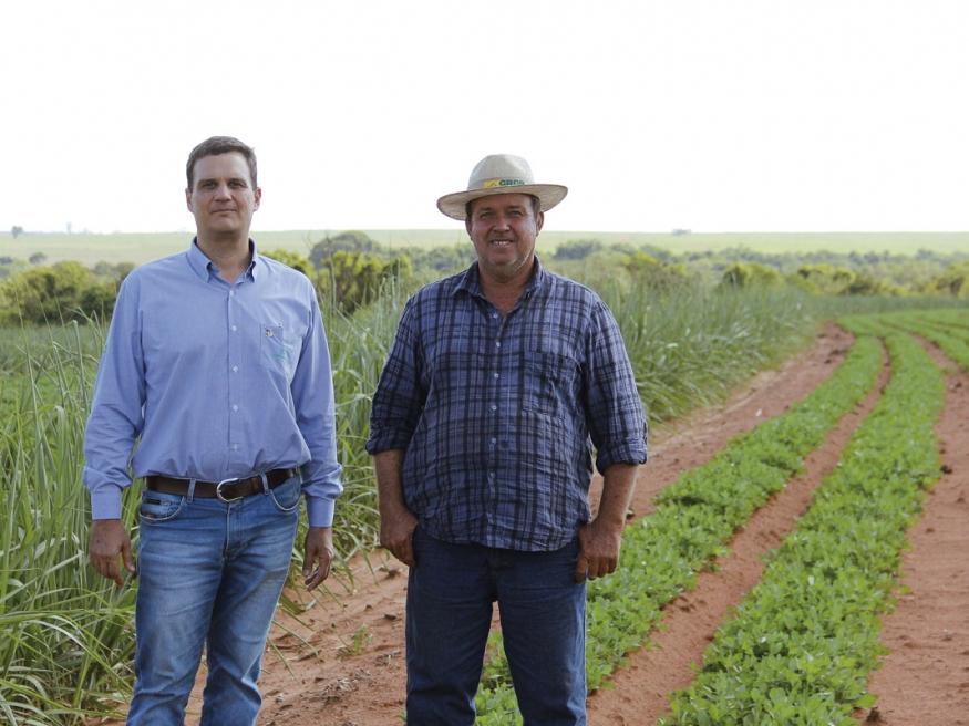 O agrônomo da unidade de grãos da Copercana, Thiago Zarinello, ao lado do produtor de amendoim de Tupã, João Pedro Bidoia, que cultivará este  ano 100% em parceria com a Usina Atena