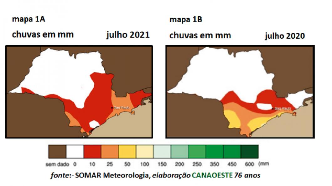 Chuvas de julho de 2021 & previsões para setembro a novembro